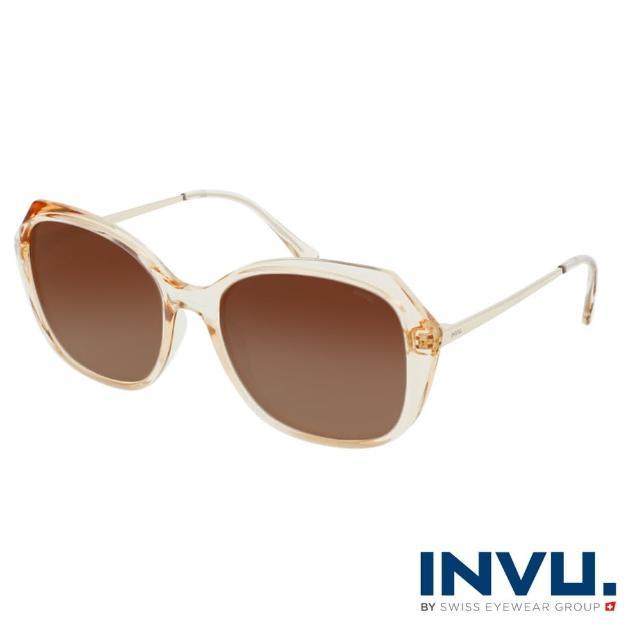 【INVU】瑞士幾何稜角設計偏光太陽眼鏡(透明米白 B2118D)