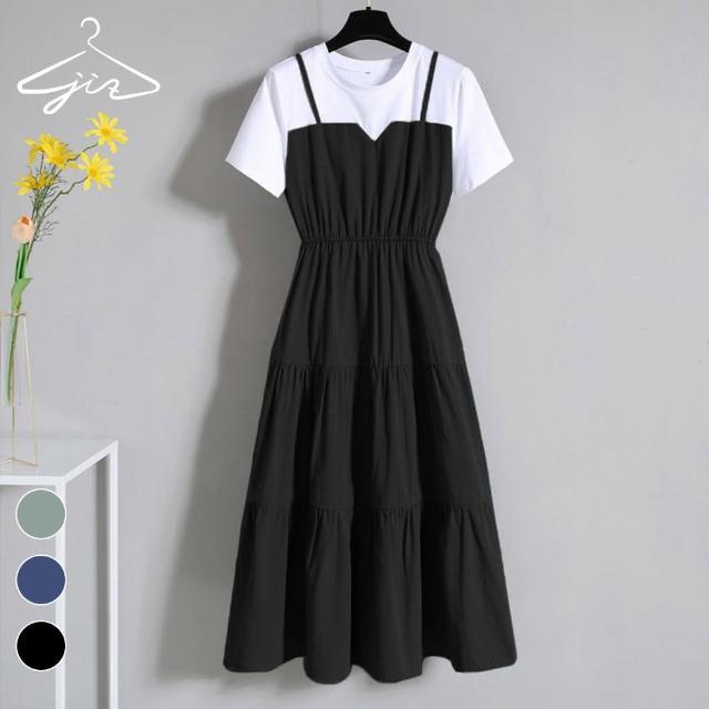 【集緻】假兩件蛋糕裙洋裝(休閒/收腰/蛋糕裙/洋裝)