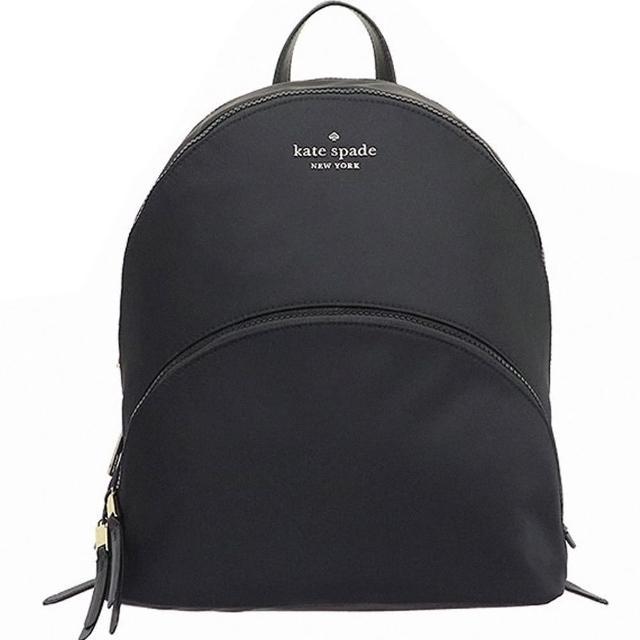 【KATE SPADE】Karissa黑色尼龍大款前口袋雙拉鍊後背包