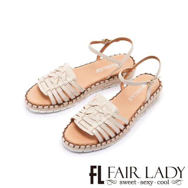 【FAIR LADY】盛夏 手工編織楔型麻編底涼鞋(香草、202406)