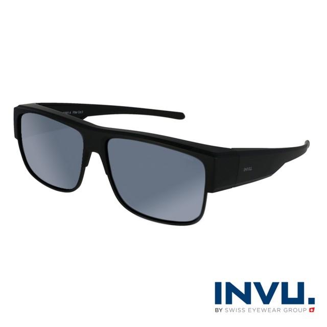 【INVU】瑞士經典方框套鏡式偏光太陽眼鏡(啞光黑 E2001A)