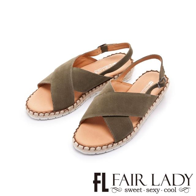 【FAIR LADY】盛夏 麂皮交叉帶楔型麻編底涼鞋(綠、202405)