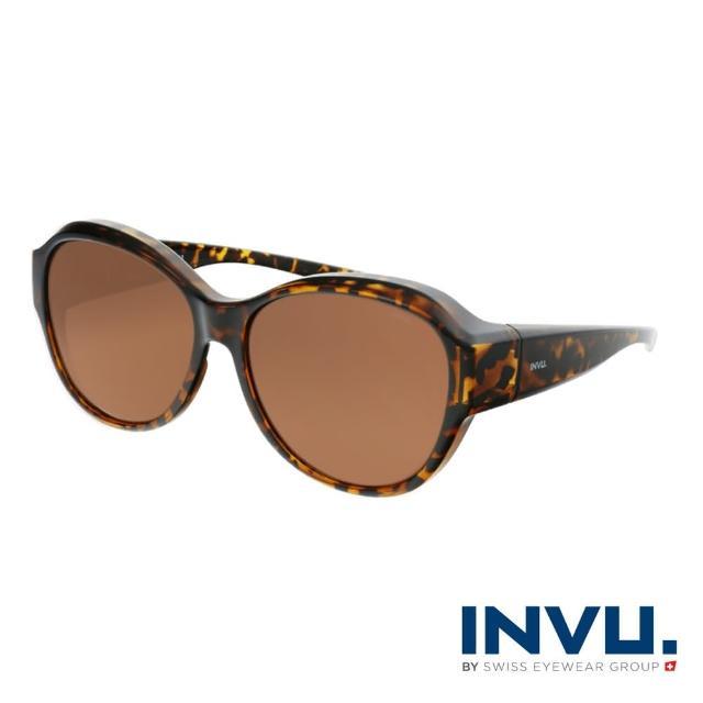 【INVU】瑞士經典小臉圓框套鏡式偏光太陽眼鏡(豹紋 E2100B)