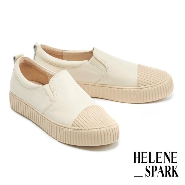 【HELENE SPARK】簡約率性全真皮線感厚底休閒鞋(米)