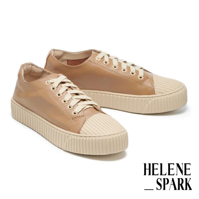 【HELENE SPARK】率性日常全真皮綁帶線感厚底休閒鞋(駝)