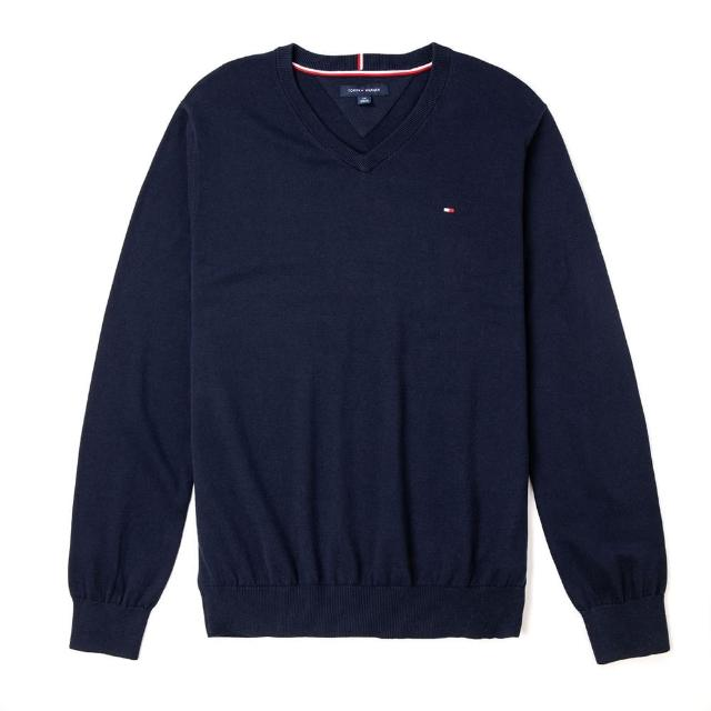 【Tommy Hilfiger】TOMMY 經典V領Logo毛衣-深藍色