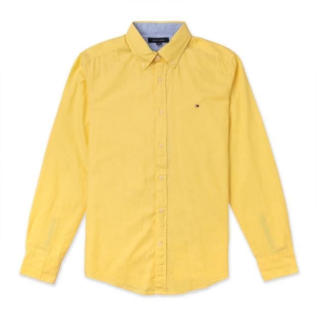 【Tommy Hilfiger】TOMMY 經典刺繡Logo長袖襯衫-黃色