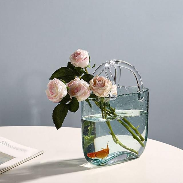 【JEN】北歐風創意手工氣泡玻璃手提包造型花瓶花器魚缸桌面擺飾居家裝飾
