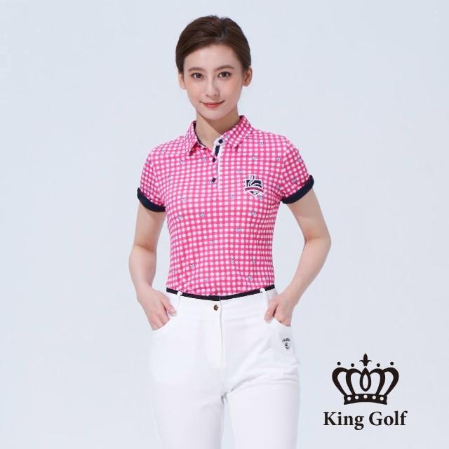 【KING GOLF】女款格紋印圖火鶴刺繡撞色短袖POLO衫(桃紅)