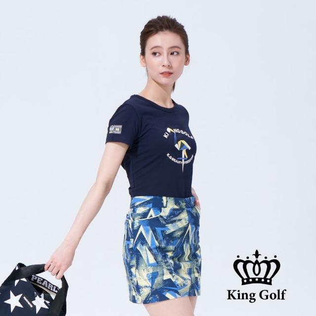 【KING GOLF】女款趣味火鶴印圖造型上衣(丈青)