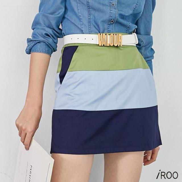 iROO【iROO】拼色低腰短裙