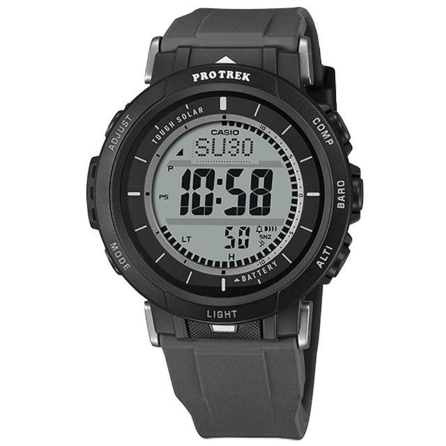 【CASIO 卡西歐】PRO TREK 太陽能 戶外登山系列 三重傳感器 防水100米 矽膠手錶 黑灰色 43mm(PRG-30-1)