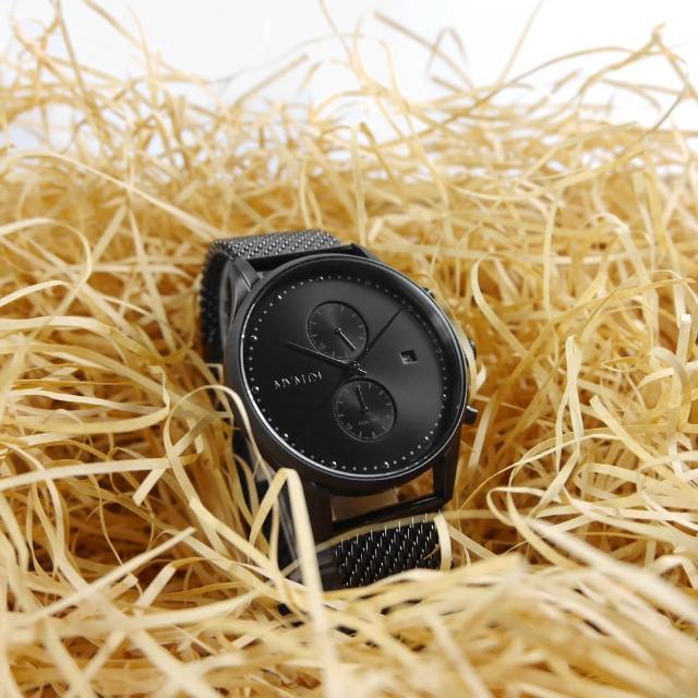 【MVMT】雙時區顯示 礦石強化玻璃 防水100米 米蘭編織不鏽鋼手錶 鍍黑 42mm(D-MV01-BL2)