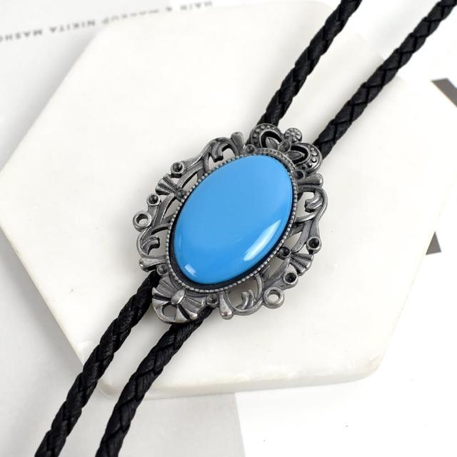 【men life】保羅領帶 皇冠花邊橢圓藍寶石項鍊(皮革項鍊)