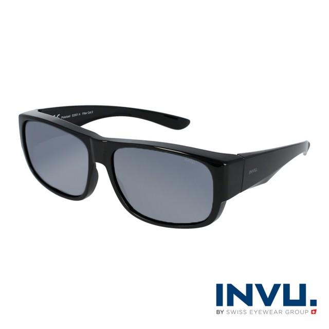 【INVU】瑞士舒適個性套鏡式偏光太陽眼鏡(煙霧黑 E2601A)