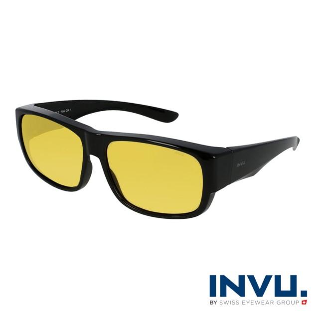 【INVU】瑞士舒適個性套鏡式偏光太陽眼鏡(黑 E2601D)