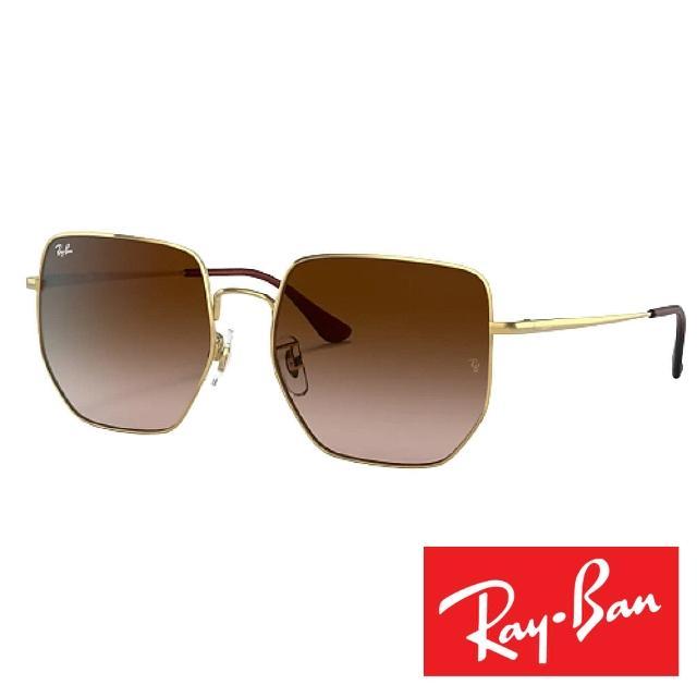 【RayBan 雷朋】時尚流行多邊型太陽眼鏡(棕金#3764-001/13 59)