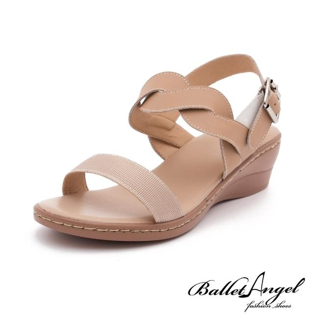 【BalletAngel】涼鞋 粉彩夏日一字編織楔型涼鞋(卡其)