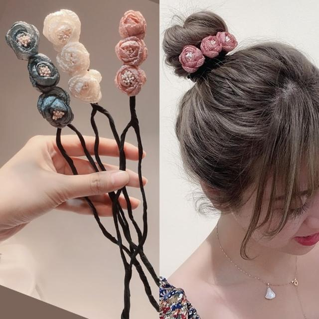 【Emi 艾迷】韓系優雅雪紡花苞丸子頭盤髮棒盤髮器
