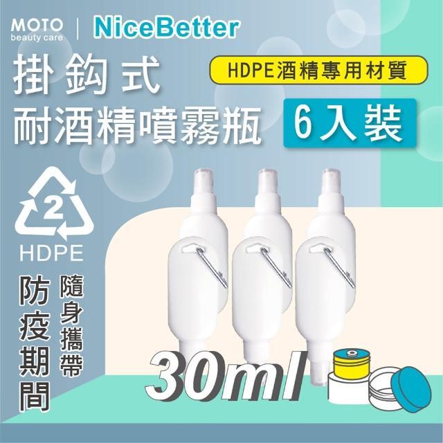 【MOTO】掛鈎式耐酒精噴霧瓶HDPE-30ml-6入(噴壓瓶 空瓶 消毒 霧狀 噴霧瓶 防疫必備 防疫生活 隨身攜帶)