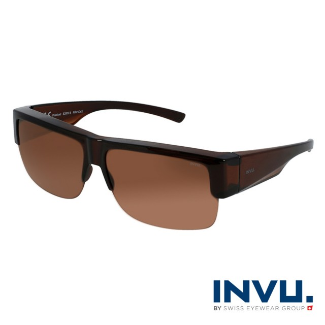 【INVU】瑞士經典半框套鏡式偏光太陽眼鏡(棕 E2602B)