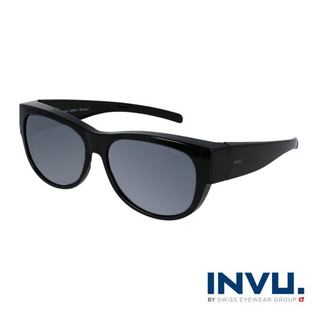 【INVU】瑞士質感圓框套鏡式偏光太陽眼鏡(煙霧黑 E2603A)