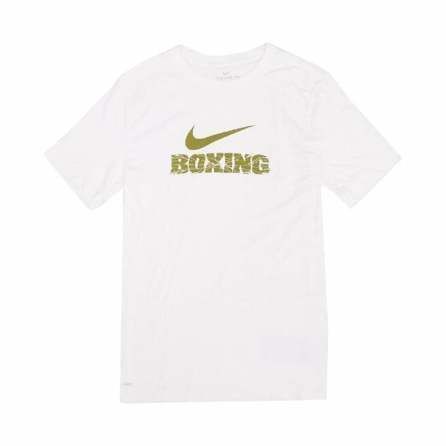 【NIKE 耐吉】T恤 Boxing Tee 運動休閒 棉質 男款 DRI-FIT 吸濕排汗 快乾 圓領 白 金(561416100B-X70)