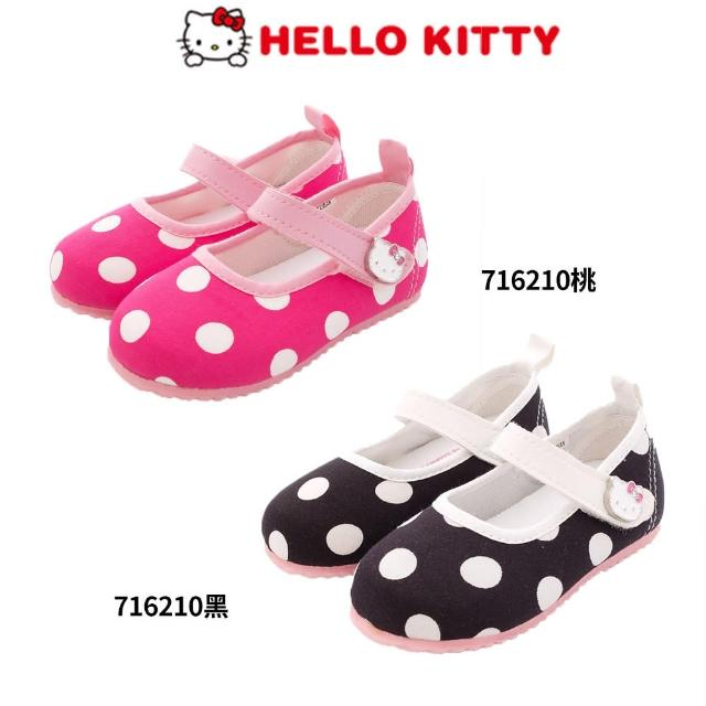 【HELLO KITTY】普普風可愛娃娃鞋(2色任選-716210黑-桃-13.5-14.5cm)