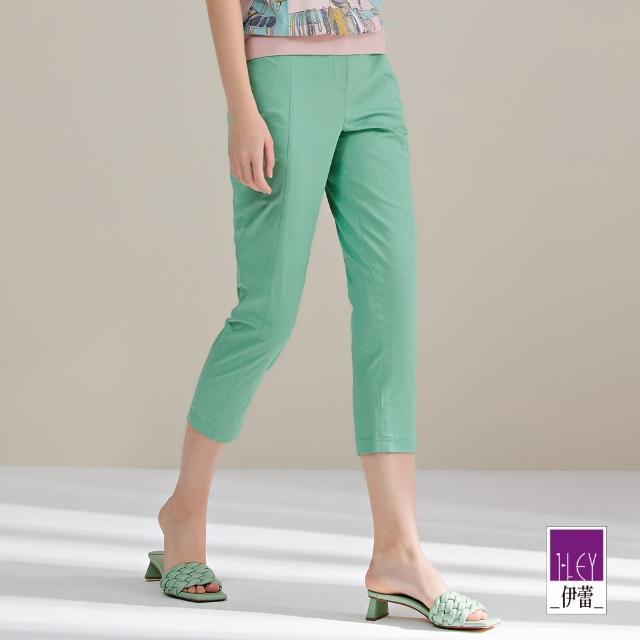 【ILEY 伊蕾】夏日感純色高含棉彈性直筒褲1211016208(淺綠)
