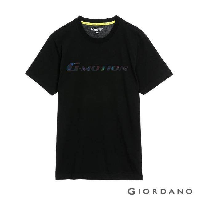 【GIORDANO 佐丹奴】男裝G-motion冰氧吧涼感T恤(01 標誌黑)