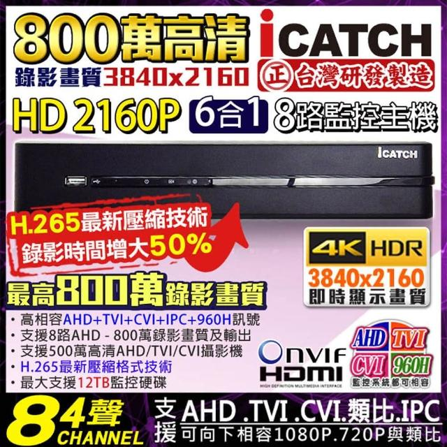 【KINGNET】可取 8路 監控主機 8MP 800萬 手機遠端(DVR 向下相容 1080P)