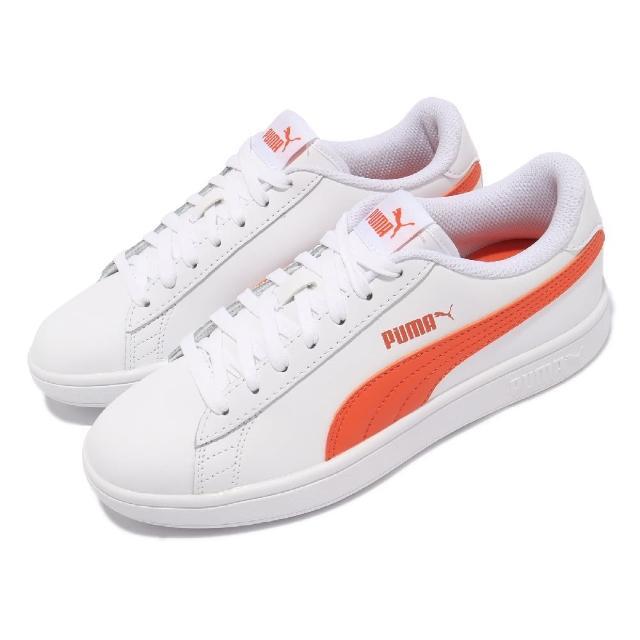 【PUMA】休閒鞋 Smash v2 L 復古 女鞋 板鞋 基本款 皮革 穿搭推薦 百搭 白 橘(36521527)