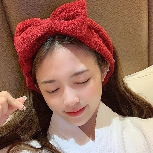 【Emi 艾迷】空氣感蝴蝶結絨質髮帶洗臉髮帶