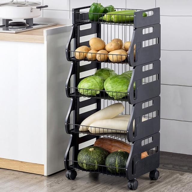 【HappyLife】可移動廚房收納車 四層 可拆用 Y10169(收納架 瓶罐收納 收納車 附輪收納車 置物架 廚房收納)