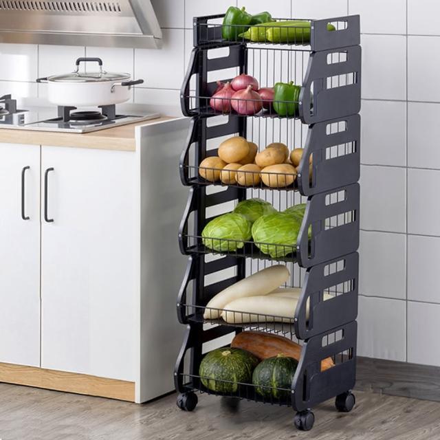 【HappyLife】可移動廚房收納車 五層 可拆用 Y10170(收納架 瓶罐收納 收納車 附輪收納車 置物架 廚房收納)