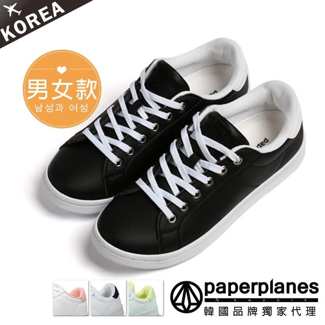 【Paperplanes】韓國空運/正常版型。微醺日常馬卡龍綁帶情侶小白休閒鞋(7-1493黑白/現+預)