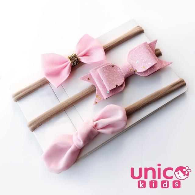 【UNICO】歐美 嬰兒寶寶甜美蝴蝶結髮帶3入組-粉色(髮飾/配件/蝴蝶結/粉色)