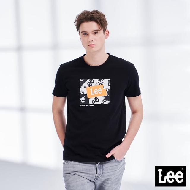 【Lee】層疊經典 LOGO 男短袖T恤-氣質黑