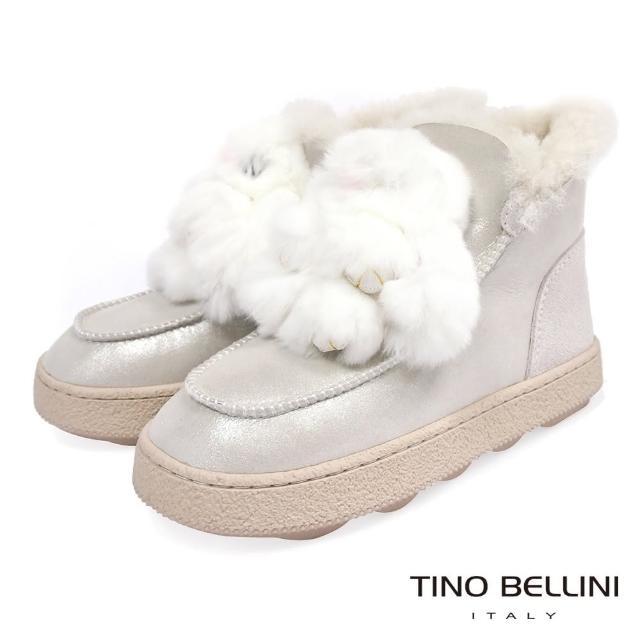 【TINO BELLINI 貝里尼】俏皮毛毛玩偶厚底雪靴VI8574(銀白)