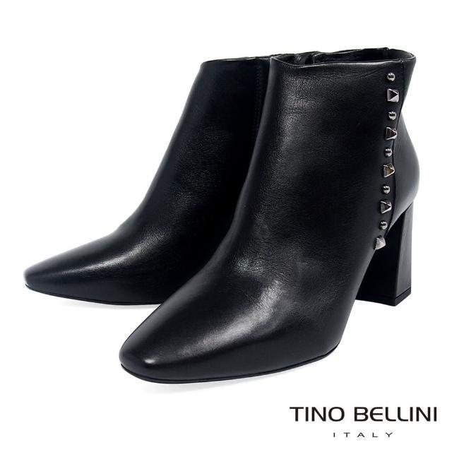 【TINO BELLINI 貝里尼】義大利進口俐落氣場鉚釘高跟短靴TF8542(黑)