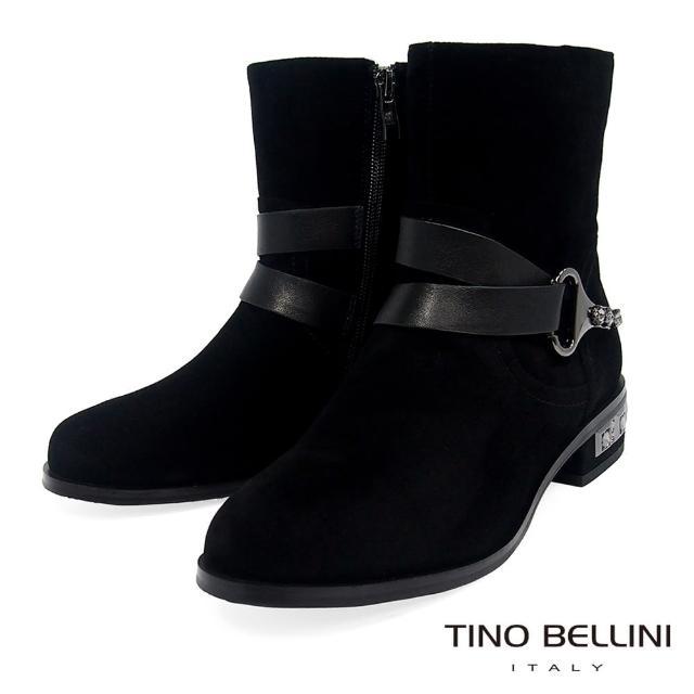 【TINO BELLINI 貝里尼】羊麂皮雙腰帶鑲鑽低跟短靴TF8579(黑)