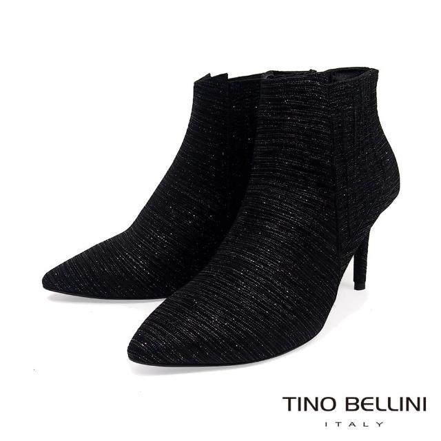 【TINO BELLINI 貝里尼】義大利進口羊皮輕奢閃爍質感尖頭踝靴VI8532(黑)