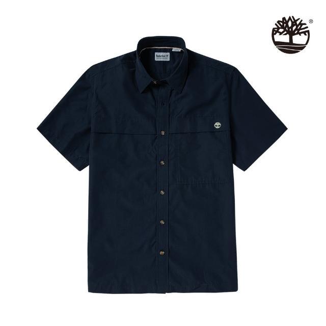 【Timberland】男款深寶石藍TIMBERCHIL短袖襯衫(A2E22433)