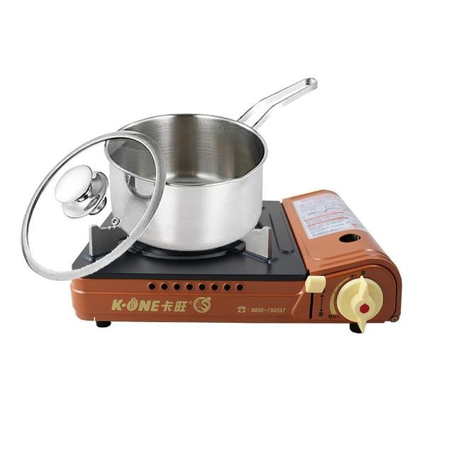 【卡旺】雙安全卡式爐+歐風316單把湯鍋20cm(K1-A001D+CI-2011AB)