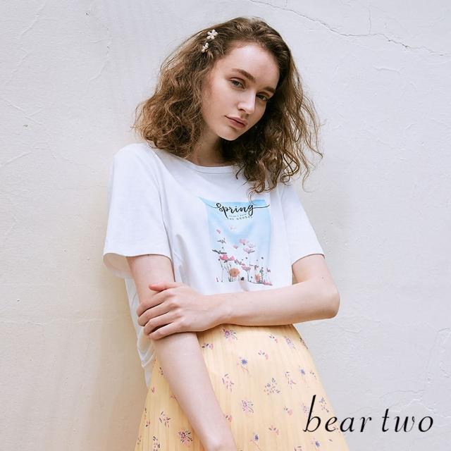 【bear two】自然風收腰印花圓領T