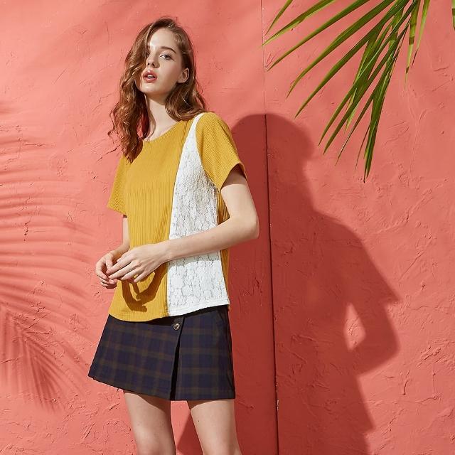 【CUMAR】坑條拼接蕾絲圓領-女短袖上衣(二色/版型適中/魅力商品)