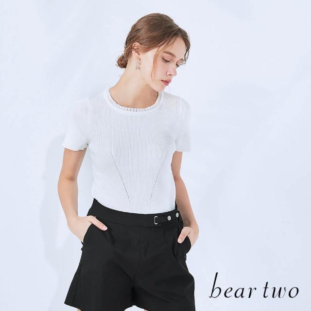 【bear two】細褶領坑條修身線衫(兩色)