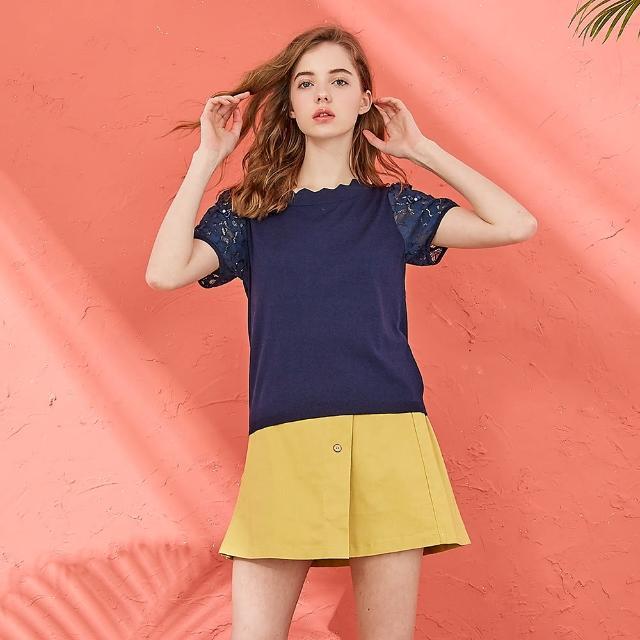 【CUMAR】花邊蕾絲拼接-女短袖針織衫(三色/魅力商品/版型適中)