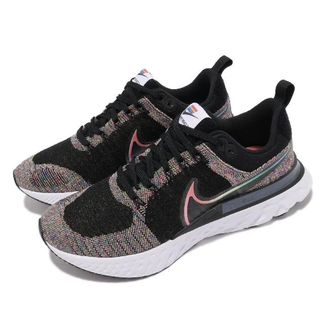 【NIKE 耐吉】慢跑鞋 React Infinity RUN 男女鞋 Betrue 彩虹 國旗魔鬼氈 情侶穿搭 黑 彩(DD6790-001)