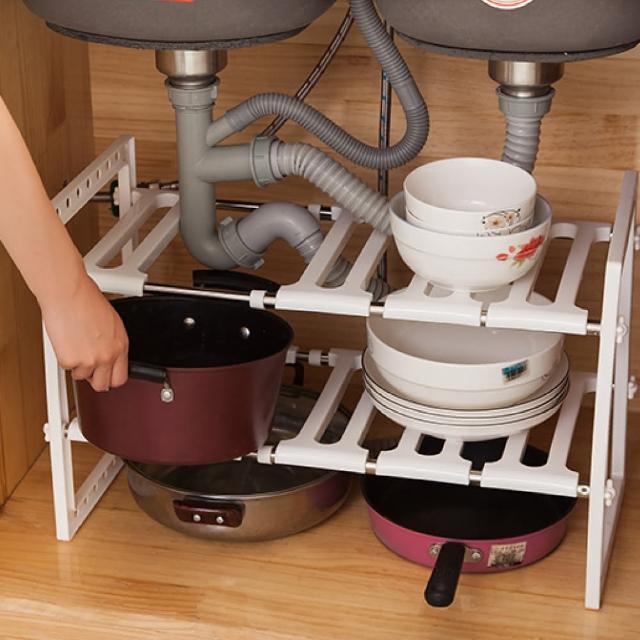 【防疫必備】廚房水槽 伸縮置物架 水槽置物架 廚房置物架(伸縮置物架)